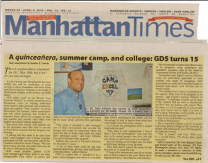 GDS and Camp Excel in the Manhattan Times